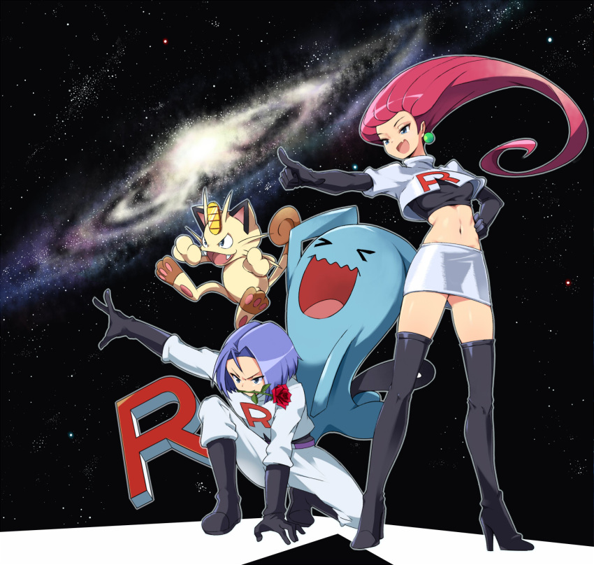 1boy 1girl black_boots black_gloves boots flower galaxy gloves hand_on_hip highres kojirou_(pokemon) meowth midriff mouth_hold musashi_(pokemon) navel pink_hair pointing pokemon pokemon_(anime) pokemon_(creature) purple_hair rose skirt space star_(sky) team_rocket thigh-highs thigh_boots tm_(hanamakisan) undershirt wobbuffet
