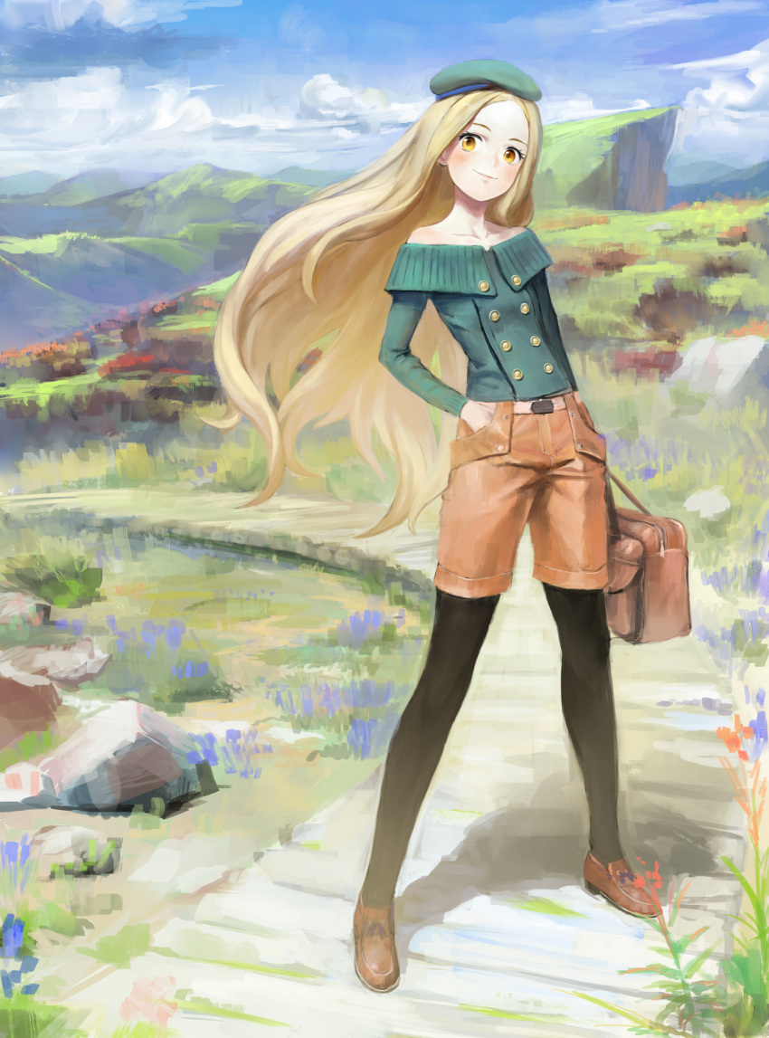 1girl bag bare_shoulders beret black_legwear blonde_hair blue_sky blush cliff clouds collarbone full_body grass hand_in_pocket handbag hat highres holding loafers long_hair long_sleeves nababa original outdoors pantyhose path road scenery shoes shorts sky smile solo standing very_long_hair yellow_eyes