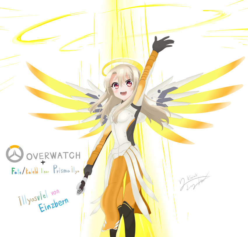 1girl :d arm_up black_boots blush bodysuit boots character_name cosplay emblem fate/kaleid_liner_prisma_illya fate_(series) headgear highres holding_staff illyasviel_von_einzbern knee_boots loincloth long_hair mechanical_wings mercy_(overwatch) mercy_(overwatch)_(cosplay) open_mouth orange_legwear overwatch pantyhose pelvic_curtain red_eyes shirt short_hair signature silver_hair smile solo wings