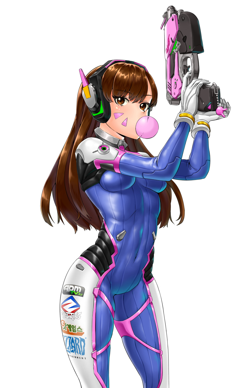1girl absurdres armor bangs bodysuit bracer breasts brown_eyes brown_hair bubble_blowing bubblegum charm_(object) contrapposto covered_navel cowboy_shot d.va_(overwatch) emblem eyebrows eyebrows_visible_through_hair facepaint facial_mark gloves gum gun hand_up handgun hands_up headphones high_collar highres holding holding_gun holding_weapon legs_apart logo long_hair looking_at_viewer medium_breasts overwatch pauldrons pilot_suit ribbed_bodysuit shoulder_pads simple_background skindentation solo thigh_strap turtleneck weapon whisker_markings white_background white_gloves
