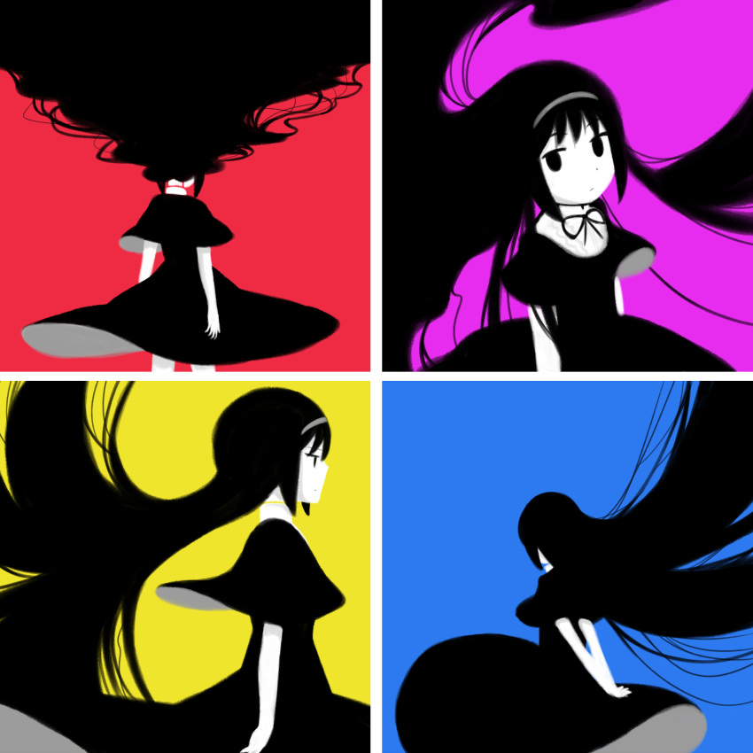 1girl akemi_homura ange black_eyes black_hair bow dress expressionless from_behind funeral_dress hairband highres homulilly long_hair mahou_shoujo_madoka_magica mahou_shoujo_madoka_magica_movie profile purple_background red_background simple_background solo very_long_hair yellow_background