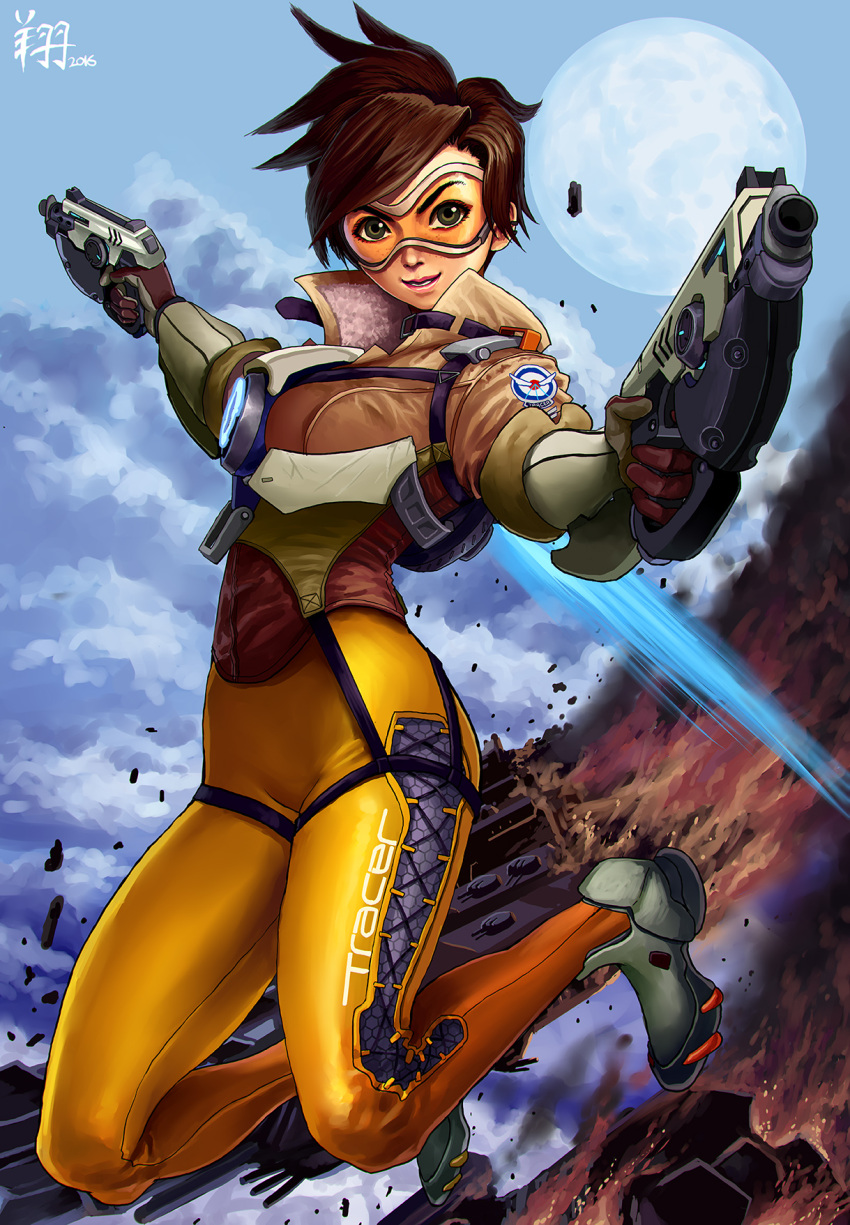 1girl bodysuit bomber_jacket brown_hair character_name completion_time cropped_jacket dual_wielding full_body full_moon gloves goggles green_eyes gun handgun high_collar highres jacket making_of moon overwatch pistol ryu_shou shoes short_hair sneakers solo spiky_hair tracer_(overwatch) weapon