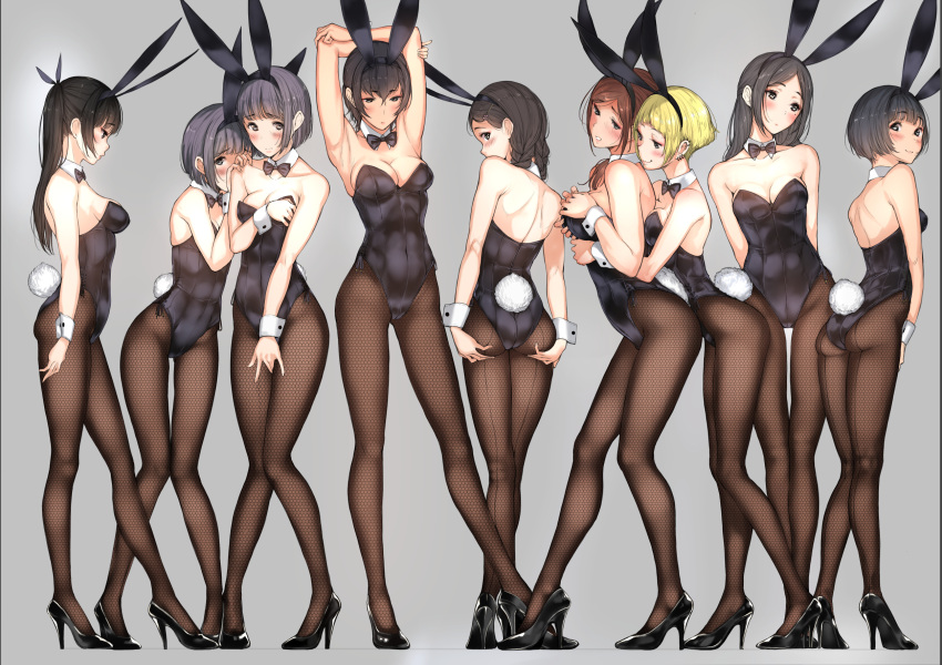 6+girls animal_ears arm_at_side armpits arms_behind_back arms_behind_head arms_up ass bangs bare_arms bare_shoulders between_legs black_eyes black_hair black_legwear black_shoes blonde_hair blunt_bangs blush bodysuit bow bowtie braid breast_grab breasts brown_eyes brown_hair bunny_girl bunny_tail bunnysuit cleavage closed_mouth collarbone commentary_request contrapposto covering covering_breasts covering_crotch detached_collar embarrassed fake_animal_ears fishnet_legwear fishnet_pantyhose fishnets full_body grabbing grabbing_from_behind green_eyes grey_background grey_hair hair_ornament hair_over_shoulder hair_ribbon hairband hairclip hand_between_legs hands_on_breasts hands_on_own_ass hands_on_own_chest hands_on_thighs head_tilt hiding high_heels highres hug hug_from_behind large_breasts leotard long_hair looking_away looking_back looking_down looking_to_the_side medium_breasts multiple_girls original pantyhose parted_bangs profile rabbit_ears revision ribbon shoes short_hair simple_background small_breasts smile smug spread_ass standing strapless strapless_leotard tail thigh-highs thigh_gap tsukino_wagamo twin_braids twintails wrist_cuffs yuri