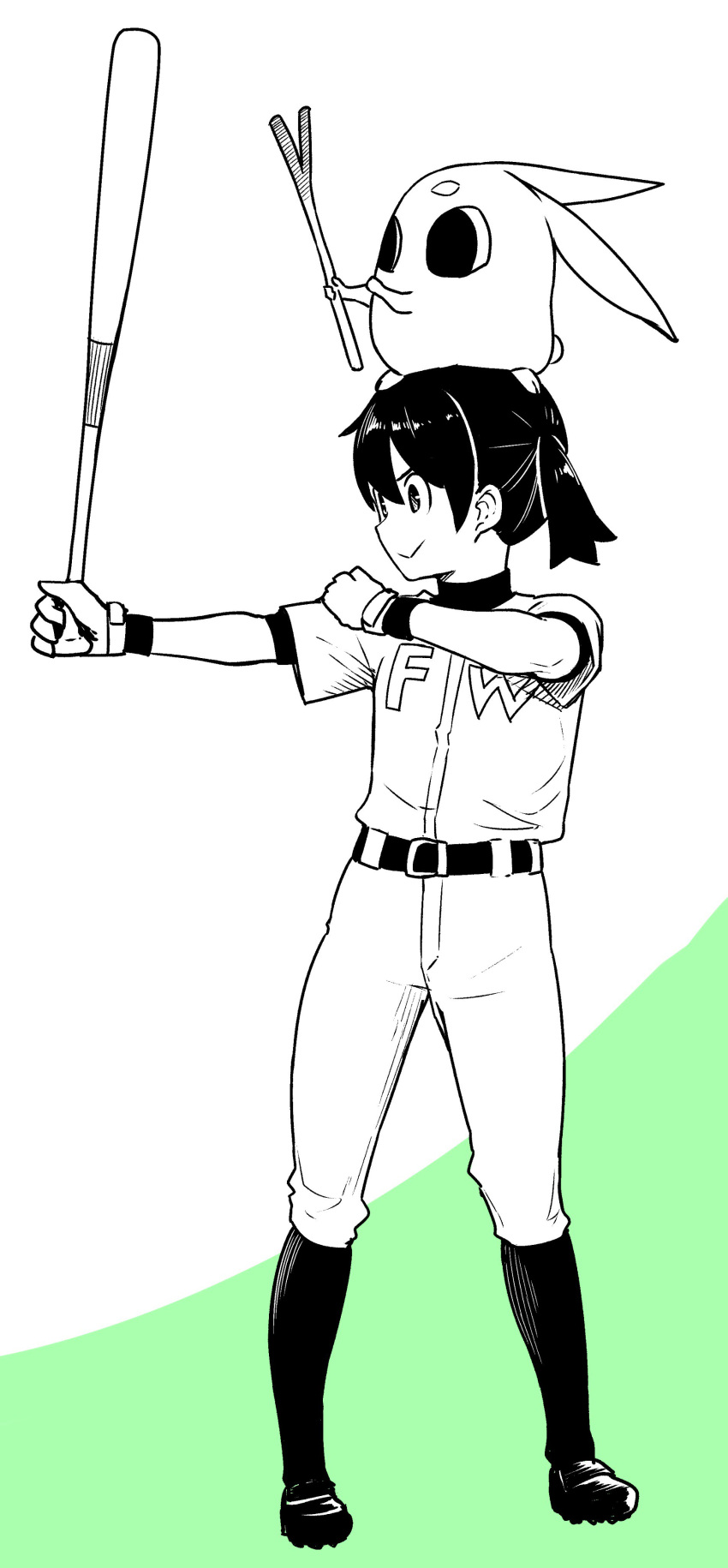 1girl absurdres baseball baseball_bat baseball_uniform character_request commentary flying_witch gloves hand_on_own_shoulder highres ishizuka_chihiro kuramoto_chinatsu official_art simple_background sportswear spring_onion suzuki_ichirou
