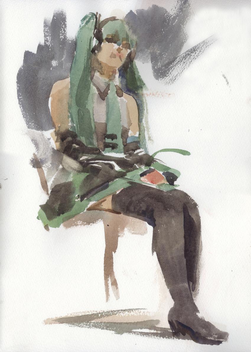 1girl hatsune_miku highres misawa_hiroshi sitting solo thigh-highs traditional_media vocaloid watercolor_(medium)