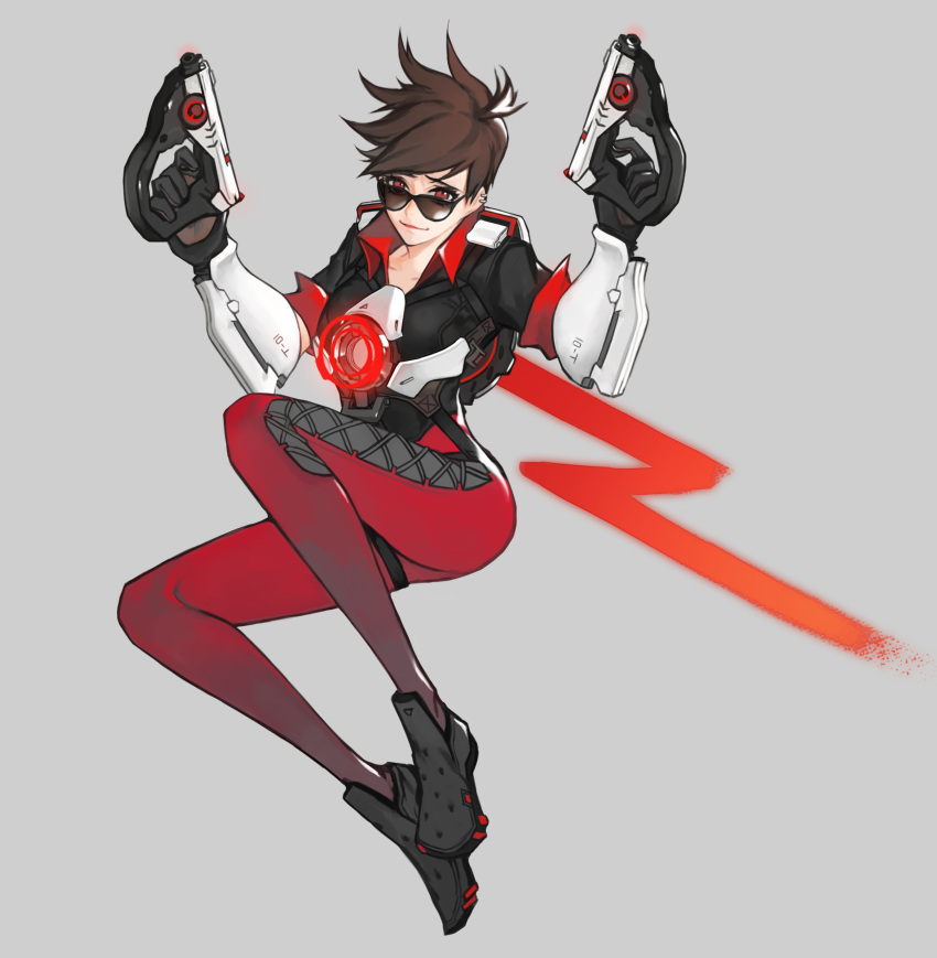 1girl absurdres alternate_color alternate_eye_color bangs black_gloves bodysuit bomber_jacket breasts brown_hair collarbone cross-laced_clothes cross-laced_legwear dark_persona dual_wielding ear_piercing finger_on_trigger gloves grey_background gun handgun hands_up harness highres holding holding_gun holding_weapon jacket knees_up leather leather_jacket midair neosnim overwatch pants parted_lips piercing red_eyes shoes short_hair short_sleeves simple_background sleeves_rolled_up smile solo spiky_hair strap sunglasses swept_bangs thigh_strap tight tight_pants tracer_(overwatch) vambraces weapon