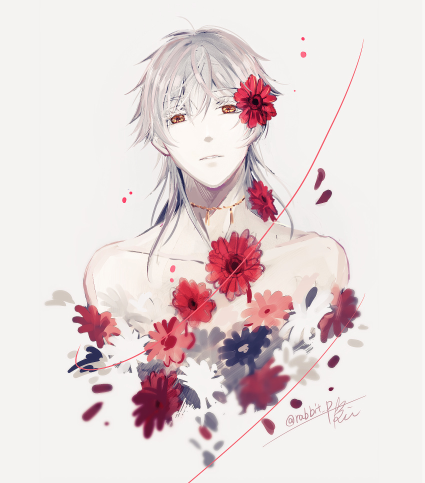 1boy flower hair_flower hair_ornament highres male_focus parted_lips petals rei_(usabiba) shirtless touken_ranbu tsurumaru_kuninaga upper_body white_hair yellow_eyes