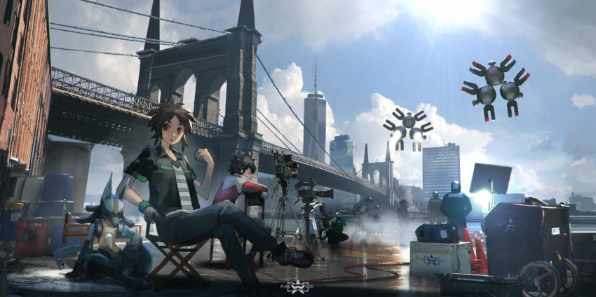 black_pants black_shirt brooklyn_bridge brown_eyes brown_hair brown_shoes building chair closed_eyes clouds crossed_legs film_set hue_(pokemon) kyouhei_(pokemon) lucario magneton new_york one_world_trade_center open_clothes open_shirt outdoors pants parted_lips pokemon pokemon_(game) pokemon_bw2 rounin_(amuza) shirt shoes short_hair short_sleeves sitting sky skyscraper striped striped_shirt sun sweatband traffic_cone