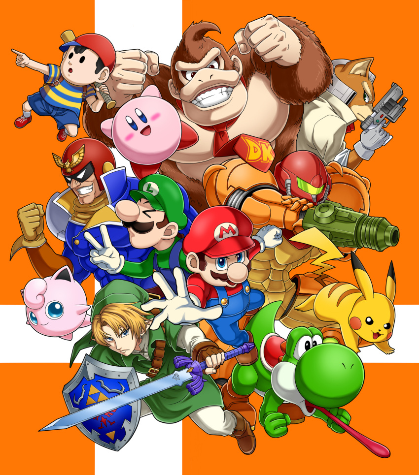 >_< 1girl 6+boys :d baseball_cap black_eyes blonde_hair blue_eyes blue_overalls blue_shorts blush brown_hair captain_falcon clenched_hand commentary_request creature creatures_(company) donkey_kong donkey_kong_(series) f-zero facial_hair fox_mccloud furry game_freak gen_1_pokemon gloves green_hat gun hat helmet highres holding holding_baseball_bat holding_gun holding_sword holding_weapon jigglypuff kamakiri kirby kirby_(series) legs_apart link long_sleeves looking_at_viewer looking_away luigi male_focus mario mario_(series) metroid mother_(game) mother_2 multiple_boys muscle mustache necktie ness nintendo open_mouth orange_background overalls pants pikachu pointing pokemon pokemon_(creature) power_armor red_footwear red_hat red_neckwear samus_aran shield shirt shoelaces shoes short_sleeves shorts sideways_hat smile sneakers star_fox striped striped_shirt super_smash_bros. sword the_legend_of_zelda the_legend_of_zelda:_ocarina_of_time tongue tongue_out v weapon white_gloves white_pants yoshi