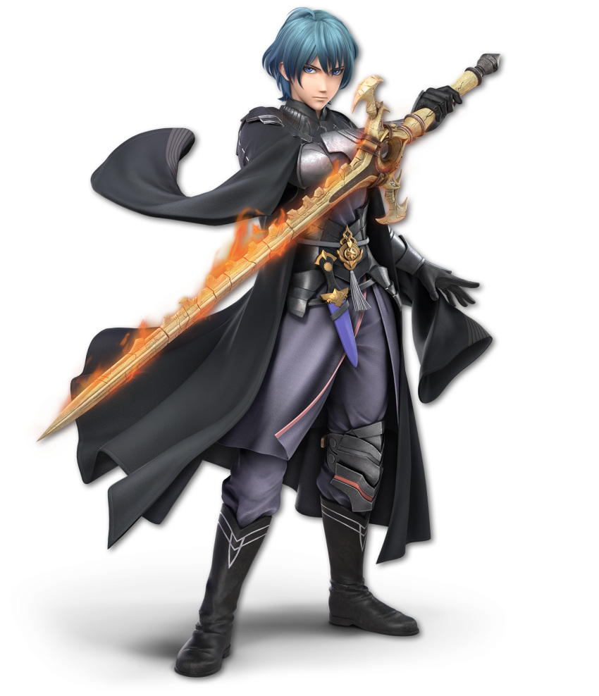 1boy 3d aqua_hair artist_request bangs black_coat black_footwear black_gloves blue_eyes boots byleth_(fire_emblem) byleth_eisner_(male) byleth_eisner_(male) closed_mouth dagger expressionless fire fire_emblem fire_emblem:_three_houses fire_emblem:_three_houses fire_emblem_16 flaming_sword full_body gloves grey_pants grey_shirt hand_up highres holding holding_sword holding_weapon intelligent_systems long_sleeves looking_at_viewer male_focus male_my_unit_(fire_emblem:_three_houses) my_unit_(fire_emblem:_three_houses) nintendo official_art pants sheath sheathed shirt short_hair solo sora_(company) standing super_smash_bros. sword sword_of_the_creator transparent_background vambraces weapon