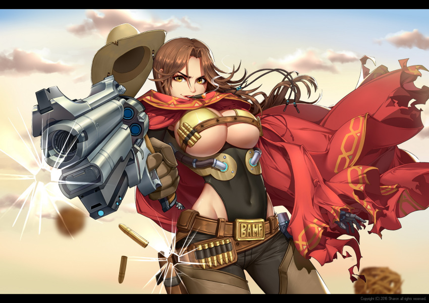 1girl 2016 aiming_at_viewer basket beads belt_buckle belt_pouch black_pants breasts broken_glass brown_gloves brown_hair brown_hat buckle bullet bullet_hole cape chaps cigar clouds covered_navel cowboy_hat cowboy_shot day drawstring eyelashes female finger_on_trigger floating_hair genderswap genderswap_(mtf) glass gloves groin gun hair_between_eyes hair_intakes handgun hat hat_removed headwear_removed highres holding holding_gun holding_weapon letterboxed long_hair looking_at_viewer mccree_(overwatch) medium_breasts motion_blur mouth_hold multiple_belts outdoors outstretched_arm overwatch pants qi_kou red_cape red_lips shell_casing sky smile smoke smoking solo torn_cape tube under_boob weapon yellow_eyes