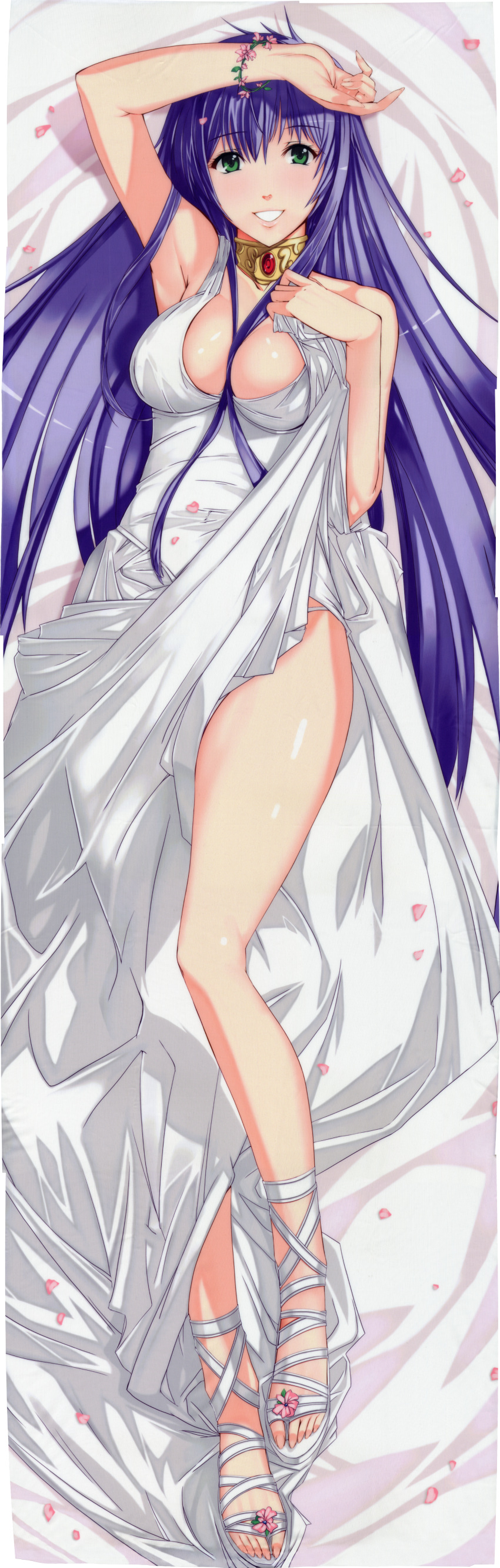 1girl absurdres bed_sheet breasts cherry_blossoms cleavage dakimakura dress dress_lift eyebrows eyebrows_visible_through_hair from_above green_eyes grin highres huge_filesize ky large_breasts long_hair looking_at_viewer lying on_back panties panty_peek purple_hair saint_seiya:_the_lost_canvas sasha_(saint_seiya:_the_lost_canvas) smile solo underwear white_dress white_panties