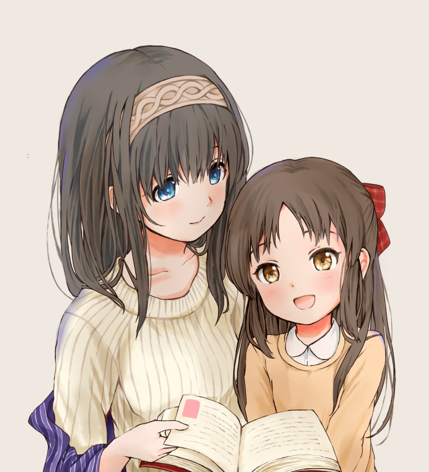 2girls black_hair blue_eyes blush book bow brown_eyes brown_hair hair_bow hairband highres idolmaster idolmaster_cinderella_girls long_hair multiple_girls open_mouth sagisawa_fumika shawl simple_background smile sweater tachibana_arisu yonko_00