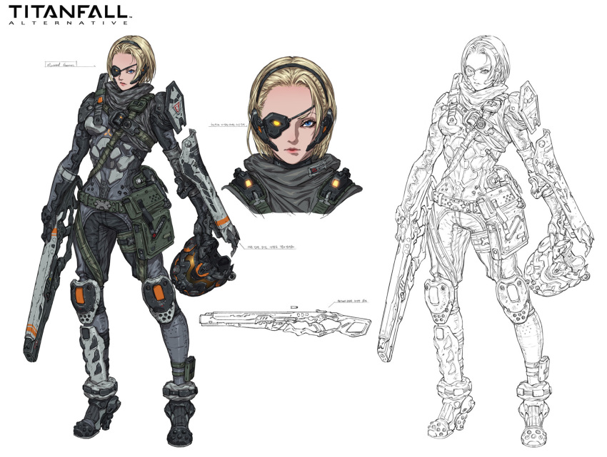 1girl armor battle_rifle blonde_hair blue_eyes breasts commentary forehead full_body gun headset headwear_removed helmet helmet_removed highres knee_pads knife lineart lips operator pauldrons pouch power_armor rifle scarf science_fiction scouter sheath sheathed short_hair small_breasts solo titanfall weapon woo_kim