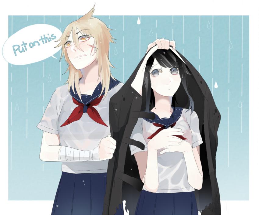 2girls black_hair blonde_hair blush english highres koumi04 long_hair multiple_girls osoro_shidesu ponytail wet wet_clothes yandere-chan yandere_simulator yuri
