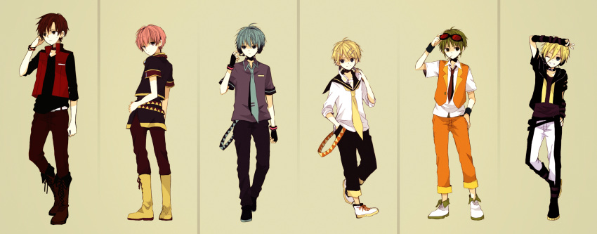 6+boys adapted_costume anzu_(o6v6o) aqua_eyes aqua_hair aqua_necktie arm_at_side arm_belt back bangs bare_arms beige_background belt black_eyes black_pants black_shoes blue_eyes boots bracer brown_hair brown_pants casual choker clenched_hand closed_mouth collared_shirt cross-laced_footwear fingerless_gloves frown full_body genderswap genderswap_(ftm) gloves green_hair grey_shirt gumiya hair_between_eyes hair_ornament hairclip hand_on_hip hand_on_own_head hand_up hatsune_mikuo headphones headphones_around_neck headset highres holding kagamine_rinto lace-up_boots lily_(vocaloid) looking_at_another looking_at_viewer looking_to_the_side male_focus megurine_luki meito microphone mouth_hold multiple_belts multiple_boys necktie one_eye_closed orange_pants orange_vest overskirt pants pants_rolled_up pink_hair polo_shirt red_boots red_eyes red_necktie red_pants sailor_collar sash shade shirt shoes short_sleeves side_slit sleeves_past_elbows sleeves_rolled_up smile sneakers standing sunglasses sunglasses_on_head sweat v v-neck vest vocaloid white_shirt white_shoes wristband yellow_boots yellow_necktie