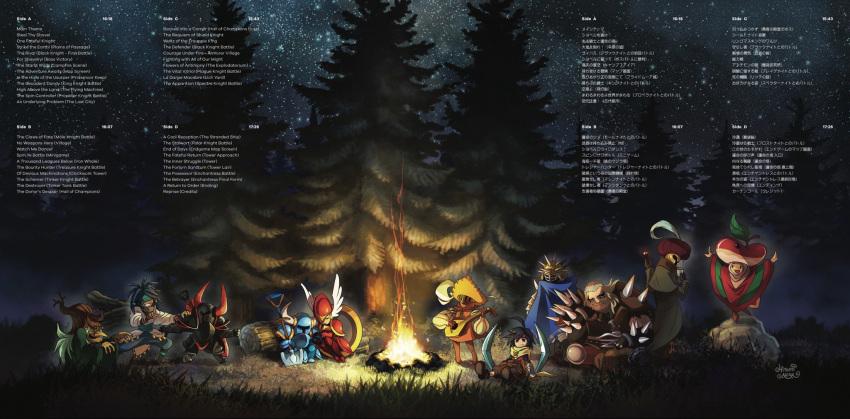 2girls 6+boys ariga_hitoshi armor black_knight_(shovel_knight) boomerang campfire cape chester_(shovel_knight) cloak credits fire forest grandma_swamp grass hat helmet highres holding_hands horned_helmet horns instrument log lute_(instrument) mr._hat_(shovel_knight) multiple_boys multiple_girls music nature night night_sky official_art old_woman phantom_striker_(shovel_knight) playing_instrument reize_seatlan rock shield shield_knight shovel shovel_knight shovel_knight_(character) sitting sky sleeping sleeping_on_person star_(sky) starry_sky the_bard_(shovel_knight) the_baz tree troupple_acolyte winged_helmet worktool