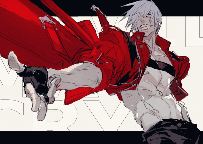 1boy black_gloves coat dante_(devil_may_cry) devil_may_cry devil_may_cry_3 finger_gun fingerless_gloves fingernails gloves grey_eyes grin hair_over_one_eye highres male_focus muscle navel nipples ogata_tomio red_coat shirtless sleeves_rolled_up smile solo teeth white_hair