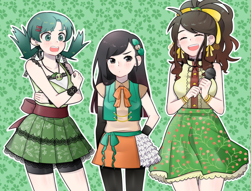 absurdres chikorita crystal_(pokemon) highres idol idol_clothes moon_(pokemon) pokemon pokemon_special rowlet shawm_(artist) snivy white_(pokemon)