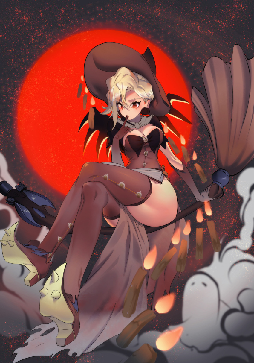1girl :o alternate_costume blonde_hair breasts broom broom_riding brown_legwear candle capelet cleavage clouds crossed_legs earrings elbow_gloves finger_to_mouth food_themed_earrings gloves halloween halloween_costume hat highres jewelry large_breasts long_hair looking_at_viewer mechanical_wings mercy_(overwatch) moon overwatch pelvic_curtain pumpkin pumpkin_earrings red_eyes red_moon shoes solo spiked_shoes spikes star_(sky) tagme thigh-highs toashi_(a1358449) wings witch witch_hat witch_mercy