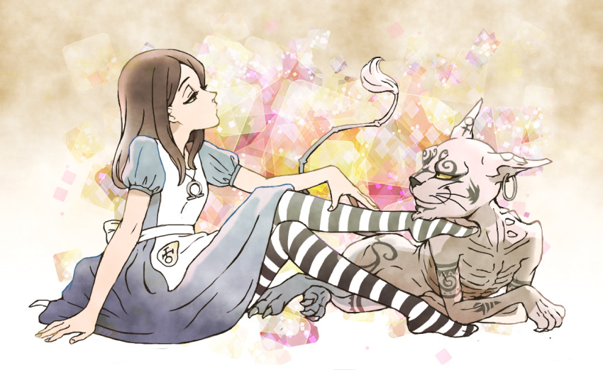 alice:_madness_returns alice_(wonderland) alice_in_wonderland alice_liddell american_mcgee's_alice apron brown_hair cat cheshire_cat dress long_hair necklace striped_legwear thigh-highs