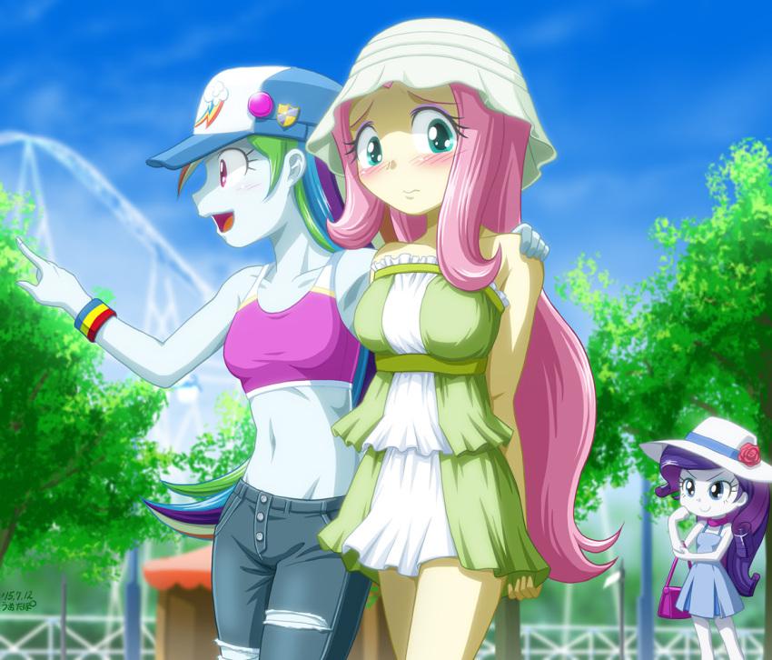 3girls blush fluttershy midriff multiple_girls my_little_pony my_little_pony_equestria_girls my_little_pony_friendship_is_magic personification rainbow_dash rarity short_skirt tagme uotapo