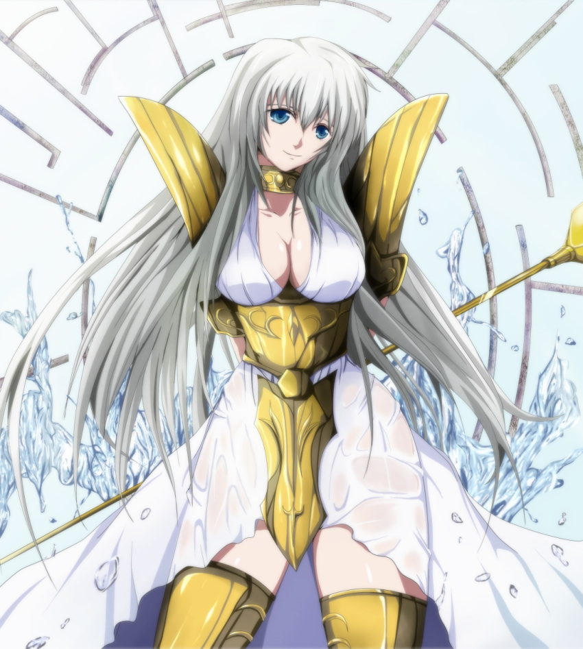 1girl armor armored_dress arms_behind_back blue_eyes breasts cleavage collar collarbone dress highres holding large_breasts long_hair mable saint_seiya saint_seiya:_the_lost_canvas sasha_(saint_seiya:_the_lost_canvas) silver_hair smile solo staff wet wet_clothes wet_dress white_dress