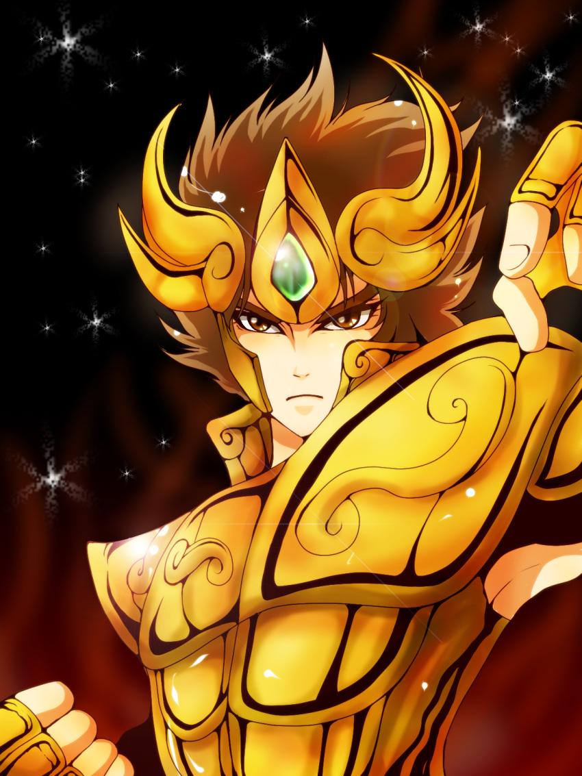 1boy armor brown_eyes brown_hair gold_armor gold_saint highres leo_aiolia looking_at_viewer odawara_ai saint_seiya short_hair solo star upper_body