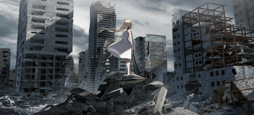 1girl bare_arms bare_shoulders barefoot blonde_hair breasts building checkered closed_eyes clouds cloudy_sky day dress floating_hair hand_on_own_chest hand_up highres original outdoors overcast parted_lips rubble ruins scenery sky skyscraper sleeveless sleeveless_dress small_breasts solo standing swav white_dress