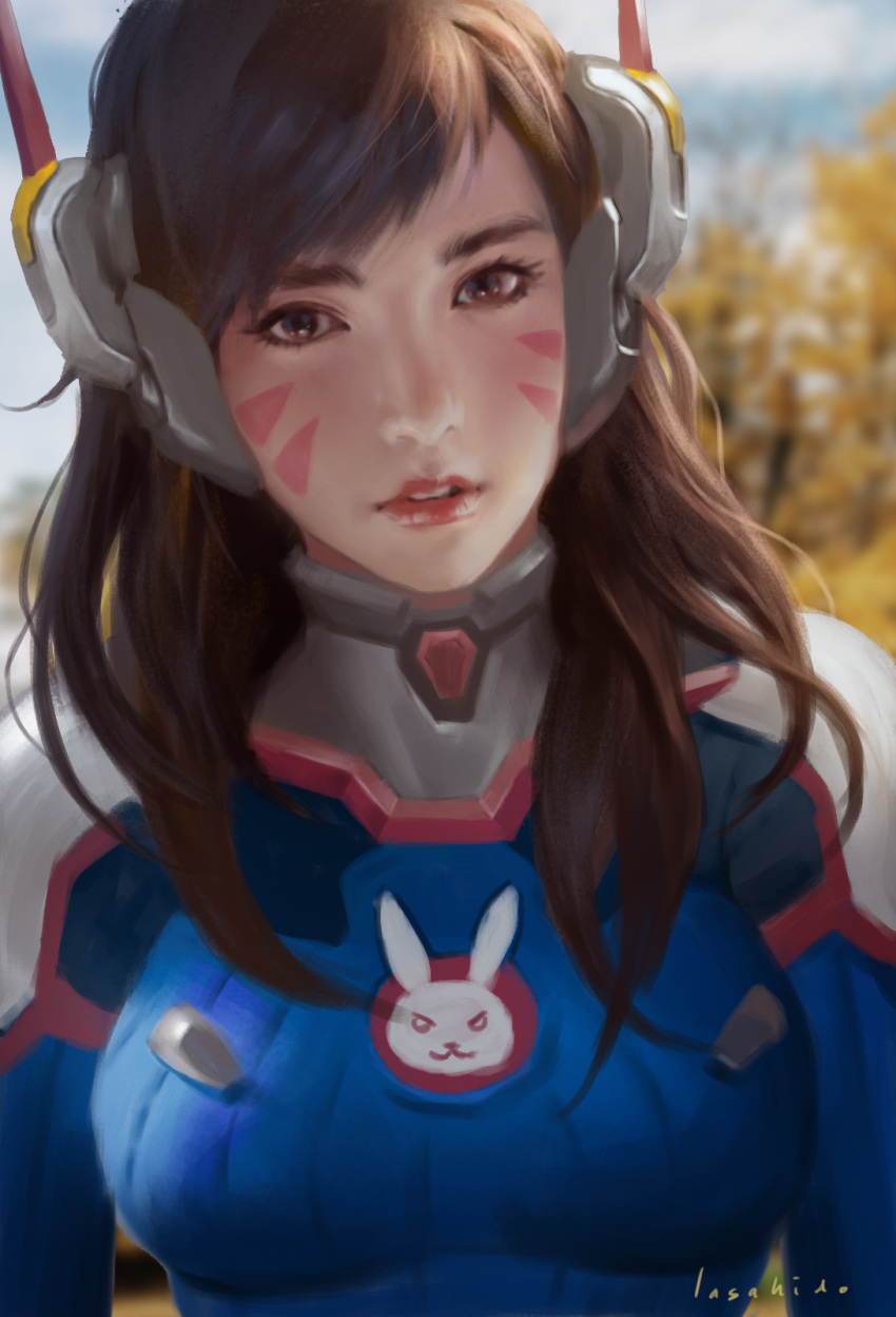 1girl artist_name bangs blue_sky blurry bodysuit breasts brown_eyes brown_hair clouds d.va_(overwatch) depth_of_field emblem facepaint facial_mark headphones highres lips lius_lasahido long_hair looking_at_viewer medium_breasts nose outdoors overwatch parted_lips pilot_suit portrait realistic signature sky solo swept_bangs tree upper_body wavy_hair whisker_markings