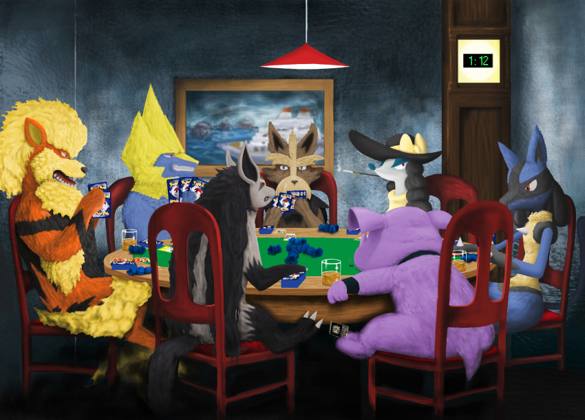 absurdres arcanine dogs_playing_poker fine_art_parody furfrou granbull herdier highres lucario manectric mightyena momentum7 parody pokemon