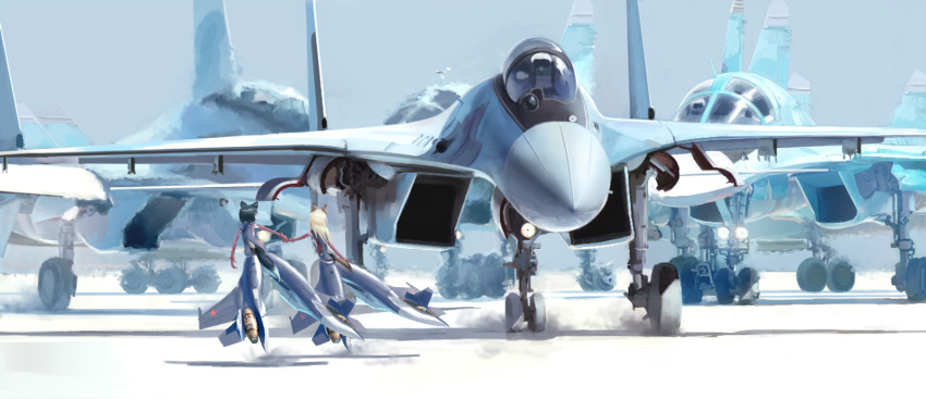 2girls aircraft airplane animal_ears black_hair blonde_hair cockpit commentary_request confin fighter_jet hand_holding heat_haze highres jet jet_engine landing_gear military military_vehicle multiple_girls original pilot_helmet piloting runway shadow strike_witches striker_unit su-30 su-34 tail world_witches_series