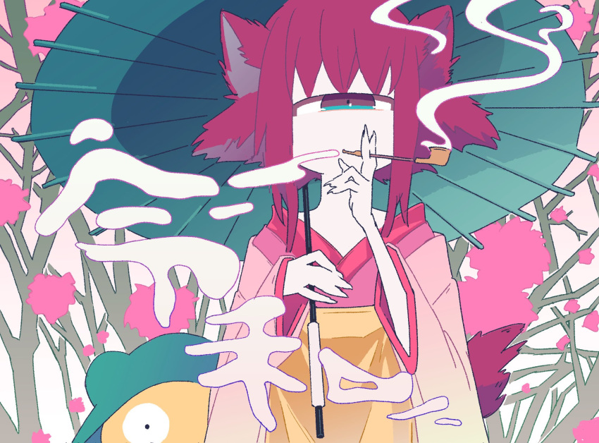 1girl animal_ears aqua_eyes bangs brown_eyes commentary_request constricted_pupils cyclops expressionless fox_ears highres japanese_clothes kimono limited_palette looking_at_viewer multicolored multicolored_eyes one-eyed original parasol pink_hair pipe sidelocks smoke smoking solo_focus standing translation_request umbrella upper_body usakumausa