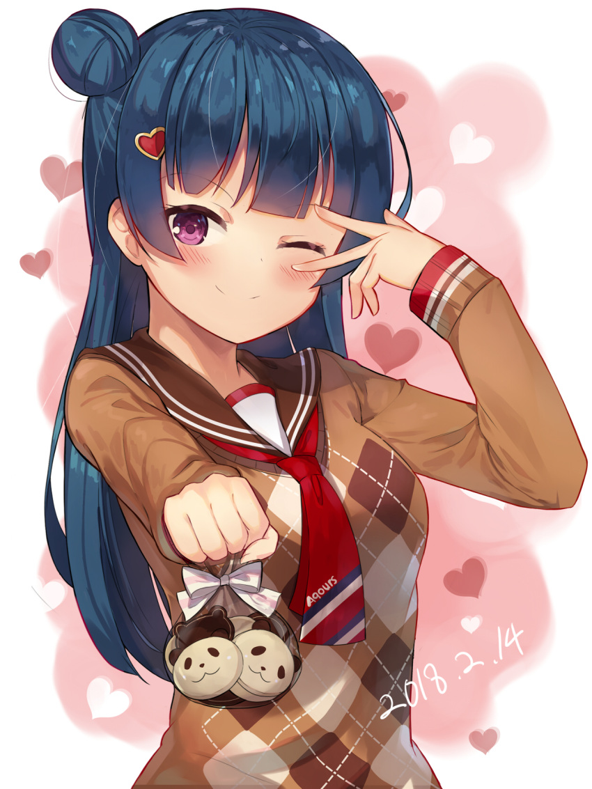 1girl ;) argyle argyle_sweater bag bangs blue_hair blush brown_sweater cookie dated food hair_ornament heart heart_hair_ornament highres incoming_gift long_hair long_sleeves love_live! love_live!_school_idol_festival love_live!_sunshine!! motokonut neckerchief one_eye_closed red_neckwear sailor_collar side_bun smile solo sweater tsushima_yoshiko upper_body v_over_eye valentine violet_eyes