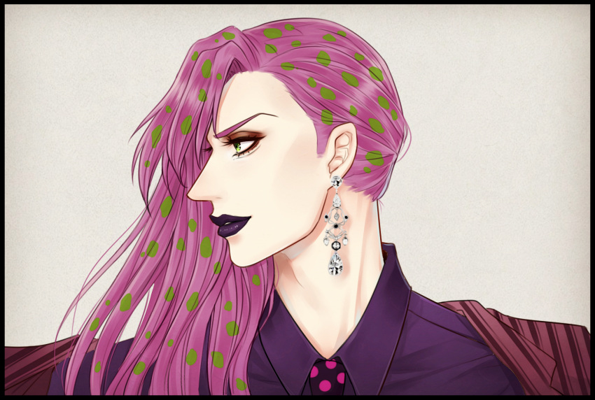 1boy black_border border diamond diavolo earrings face formal green_eyes green_hair jewelry jojo_no_kimyou_na_bouken lipstick long_hair makeup male_focus mizulee multicolored_hair neck necktie pink_hair polka_dot portrait profile purple_lipstick solo striped_jacket suit two-tone_hair