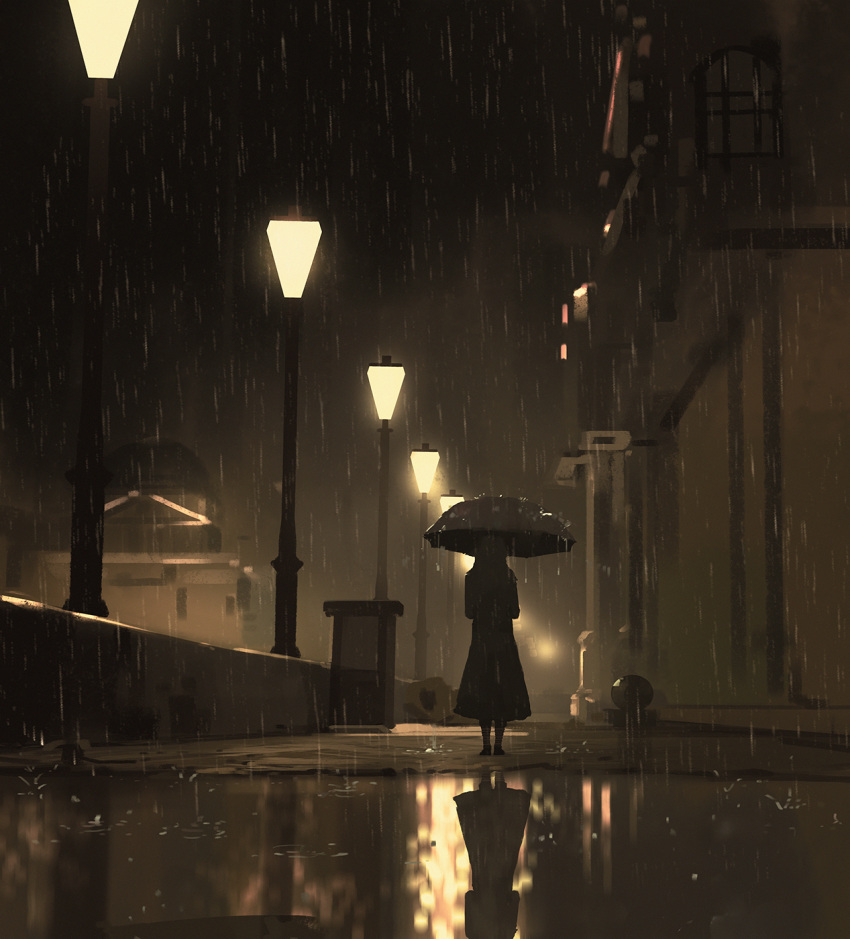 1girl building highres lamppost night original rain reflection scenery sepia sketch snatti solo umbrella