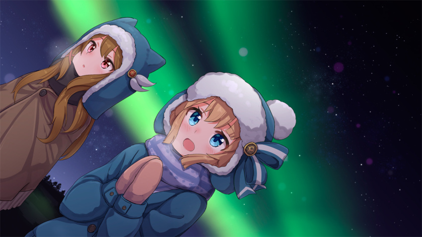 2girls :d ame. animal_ears animal_hat aurora azur_lane bangs beanie blonde_hair blue_eyes blue_headwear blue_jacket blush breath brown_hair brown_mittens character_request commentary_request dutch_angle eyebrows_visible_through_hair fake_animal_ears fringe_trim hands_together hands_up hat jacket long_hair long_sleeves mittens multiple_girls night night_sky open_mouth outdoors own_hands_together parted_lips red_eyes sky smile star_(sky) starry_sky upper_body