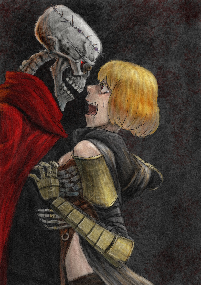 1boy 1girl ainz_ooal_gown armor artist_request blonde_hair cape clementine_(overlord) crown_of_thorns hood hug jewelry looking_at_another open_mouth overlord_(maruyama) red_eyes ring scared skeleton