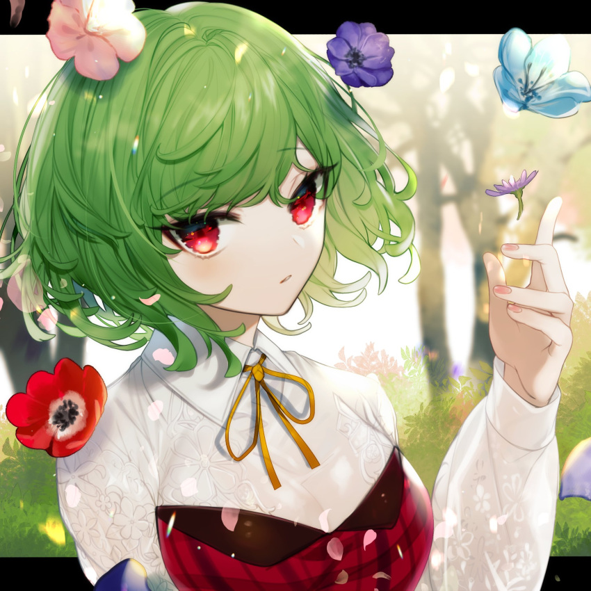 1girl bangs blue_flower blush breasts commentary daimaou_ruaeru dress english_commentary eyebrows_visible_through_hair flower green_hair hand_up highres kazami_yuuka large_breasts letterboxed long_sleeves looking_at_viewer neck_ribbon outside_border petals pink_flower purple_flower red_dress red_eyes red_flower ribbon shirt short_hair solo strapless strapless_dress touhou upper_body white_shirt yellow_neckwear yellow_ribbon