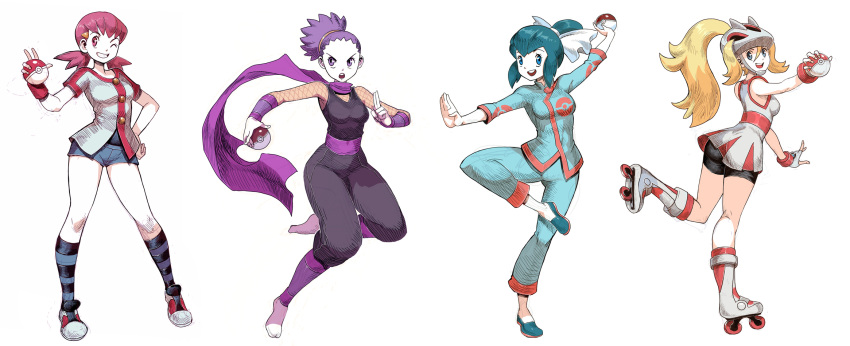 00s 10s 4girls 90s akane_(pokemon) anzu_(pokemon) genzoman gym_leader koruni_(pokemon) looking_at_viewer multiple_girls nintendo poke_ball pokemon pokemon_(game) pokemon_gsc pokemon_hgss pokemon_rse pokemon_xy ran_(pokemon) simple_background