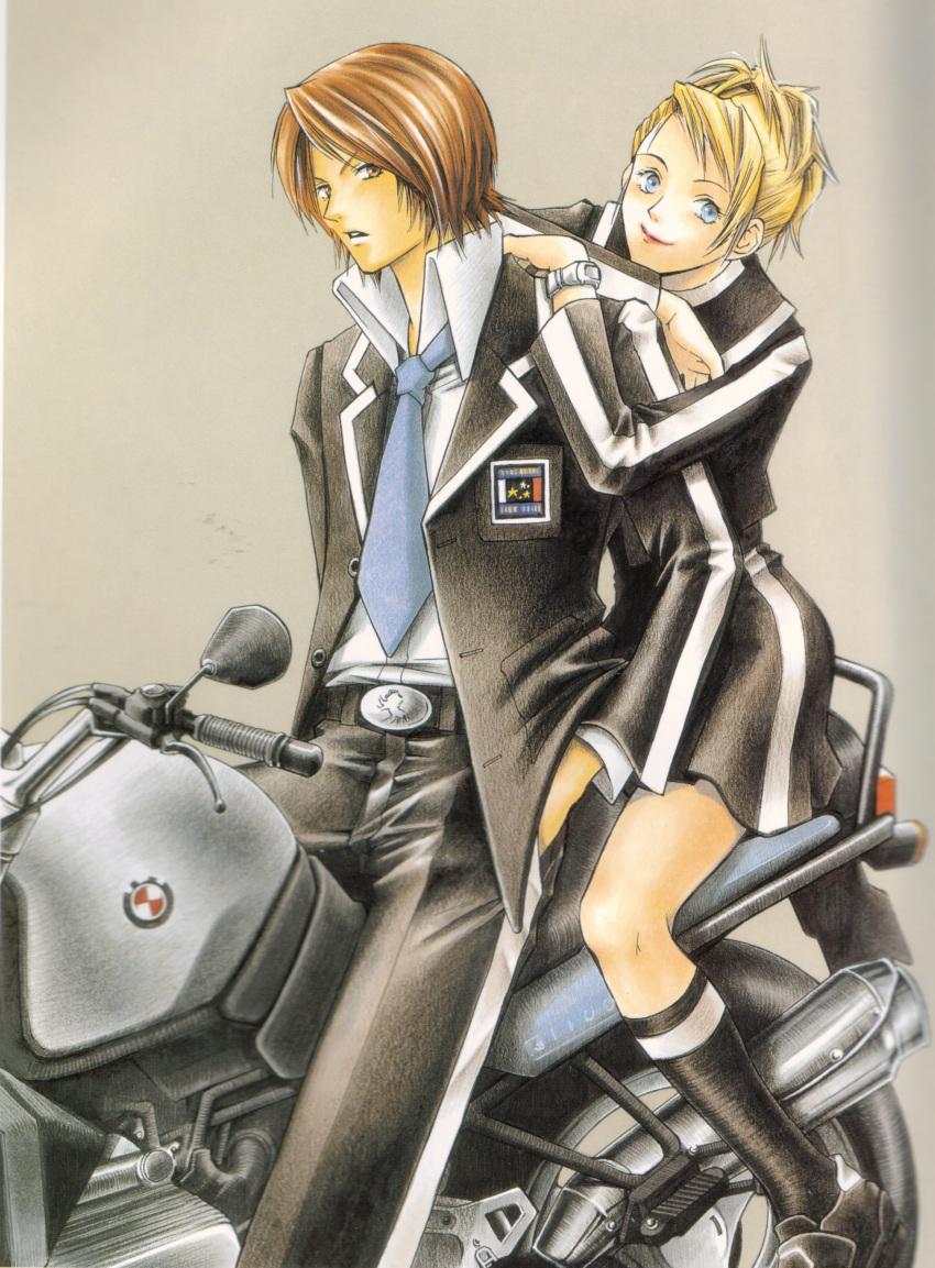 artist_request ground_vehicle lisa_silverman motor_vehicle motorcycle persona persona_2 suou_tatsuya tagme