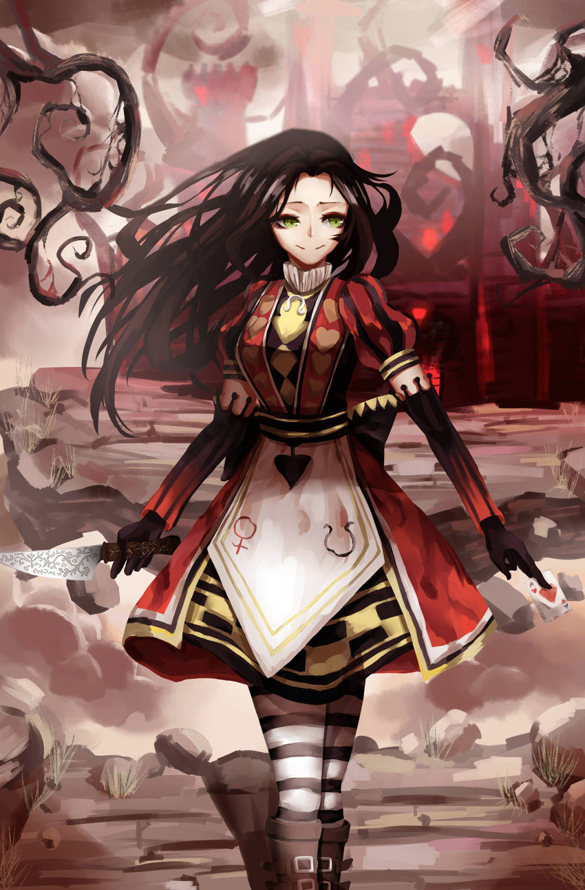 1girl alice:_madness_returns alice_in_wonderland alice_liddell american_mcgee's_alice black_hair boots card castle dress green_eyes knife long_hair muye playing_card red_dress smile striped_legwear thigh-highs