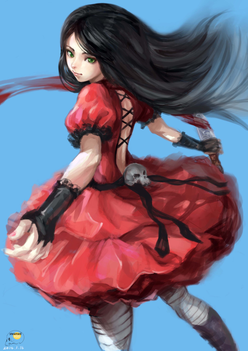 1girl alice:_madness_returns alice_in_wonderland alice_liddell american_mcgee's_alice black_hair boots bridal_gauntlets dress green_eyes knife long_hair red_dress skull solo steamed_egg striped_legwear thigh-highs