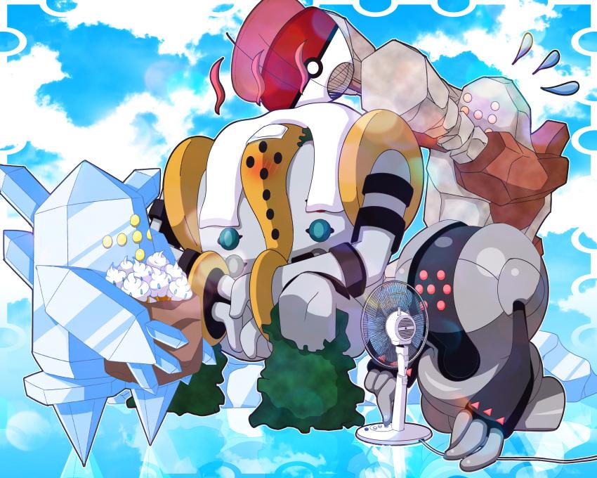 box clouds food ice_cream monster nintendo no_humans pokemon pokemon_(game) regice regigigas regirock registeel sky vanillite