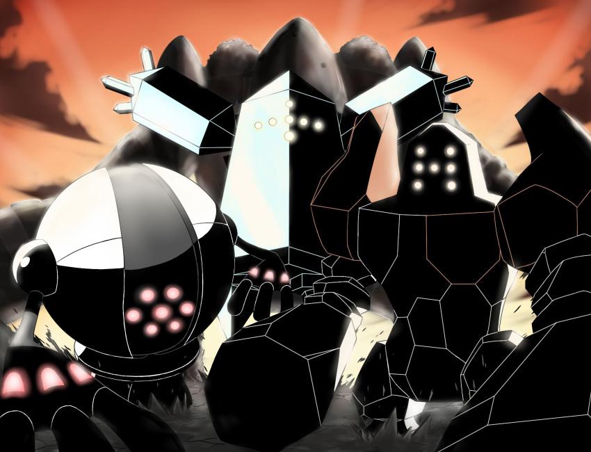 monster nintendo no_humans outdoors pokemon pokemon_(game) regice regigigas regirock registeel shadow sky