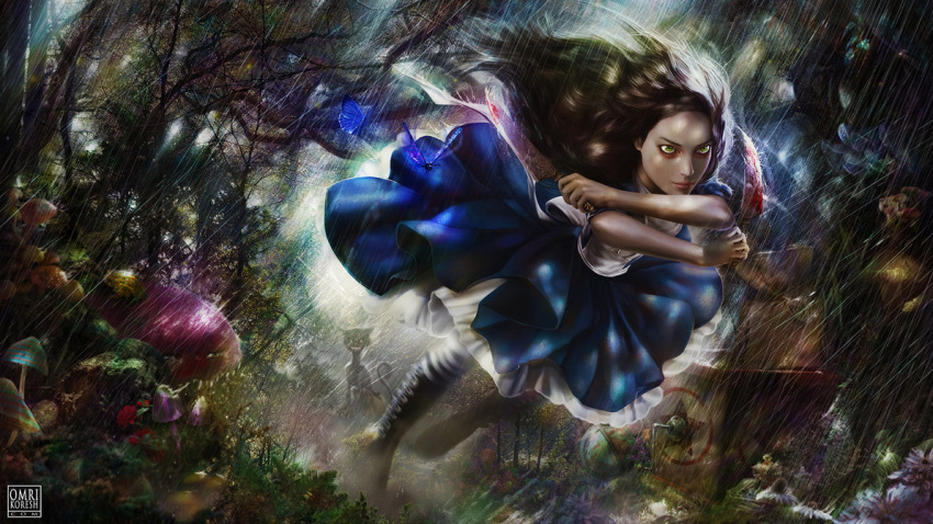 1girl alice:_madness_returns alice_(wonderland) alice_in_wonderland alice_liddell american_mcgee's_alice black_hair blood dress face gradient gradient_background green_eyes highres knife lips long_hair realistic smile solo weapon