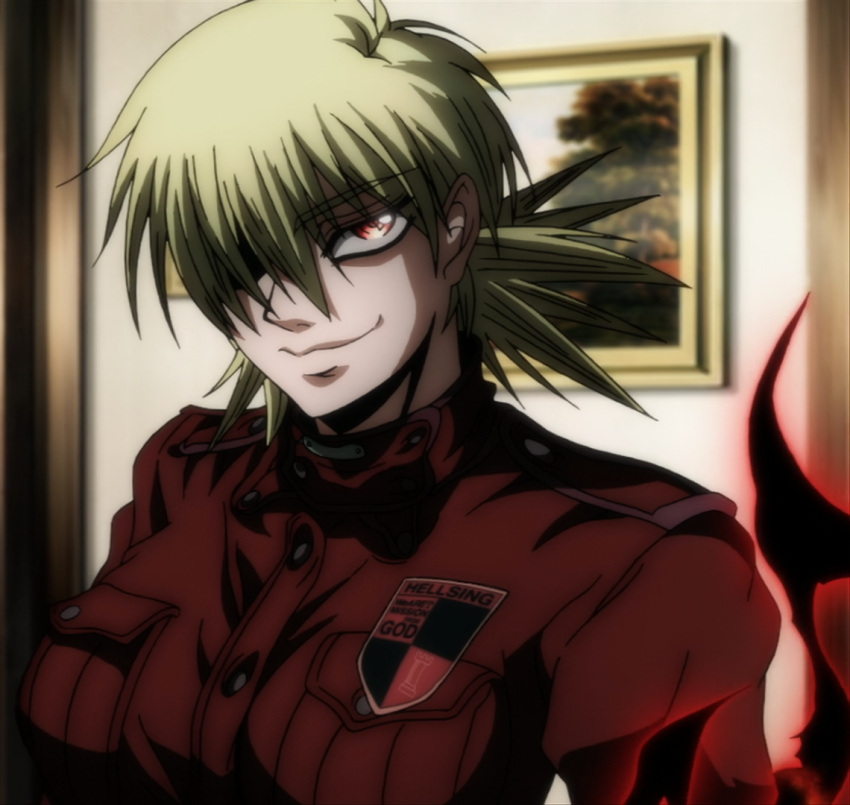1girl aura blonde_hair breasts female hair_over_one_eye hellsing indoors large_breasts military military_uniform red_eyes screencap seras_victoria short_hair smile solo stitched uniform vampire