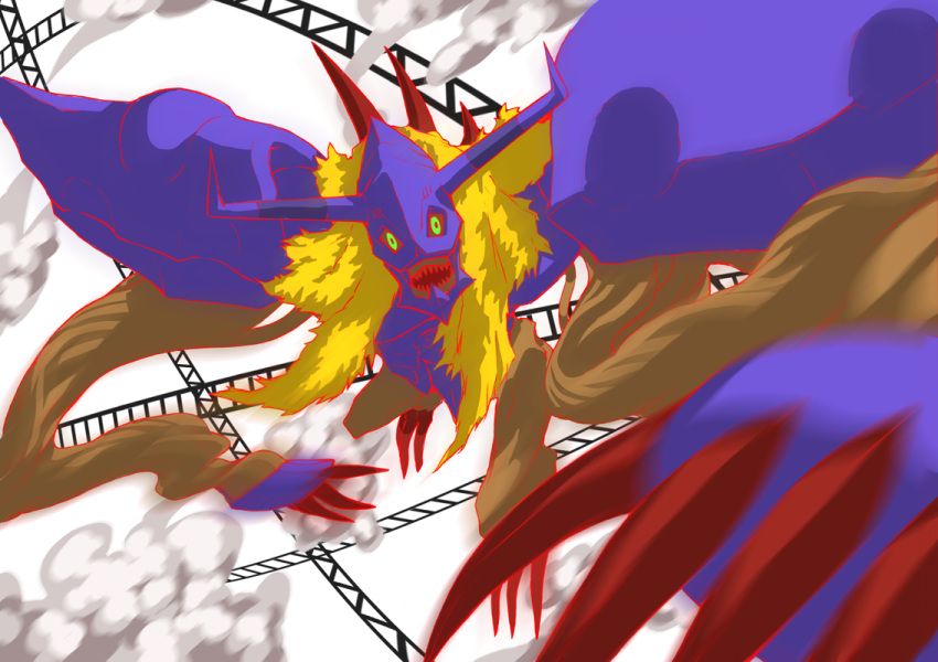 bandai blonde_hair claws diablomon digimon digimon_adventure digimon_adventure:_bokura_no_war_game evil fighting horns internet ishinarimaru_shouten jumping monster no_humans simple_background yellow_eyes