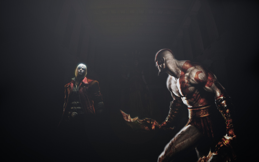 2boys bald battle crossover dante_(devil_may_cry) devil_may_cry devil_may_cry_4 dual_wielding epic god_of_war jacket kratos multiple_boys pteruges red_jacket weapon white_hair