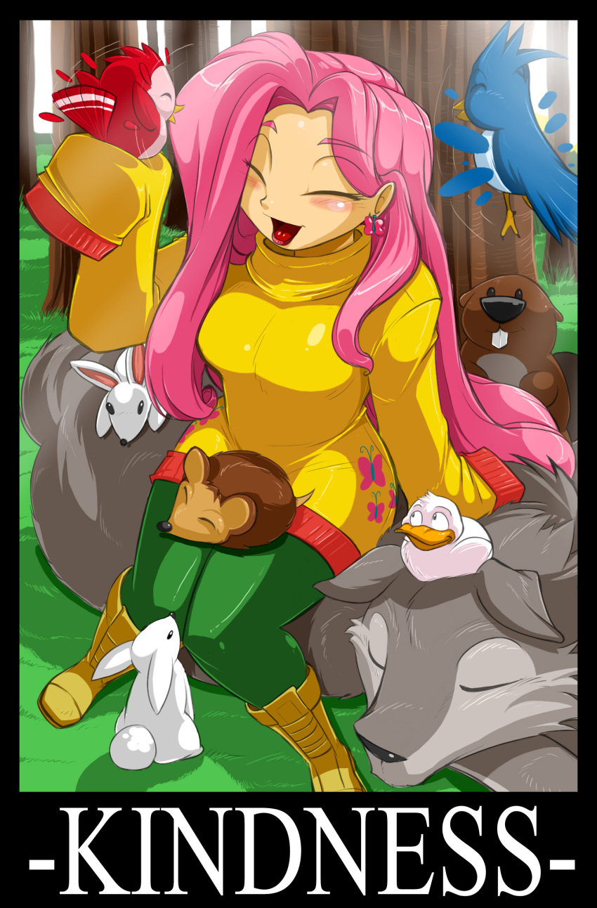 1girl animal beaver bird birds blush boots closed_eyes duck earrings flat_chest fluttershy happy hedgehog jewelry laughing long_sleeves my_little_pony my_little_pony_friendship_is_magic open_mouth personification pink_hair rabbit shonuff44 sleeves_past_wrists smile sweater tongue turtleneck wolf